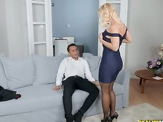 Blonde Rossella Visconti Gets Spoke Into Fucking With Two Guys At Once