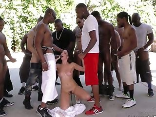 Group Of Lovemaking-greedy Studs Fuck Face Of Nasty Chick Melissa Moore In Crazy Blowbang Flick