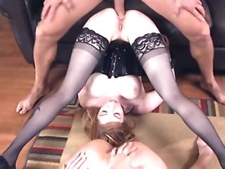 Petite Asian Cougar And Ginger-haired Predominated By Brazilian Bruiser