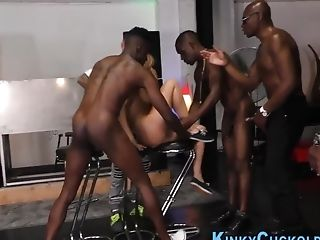 Group-fucked Cockslut Inhales Big Black Cock