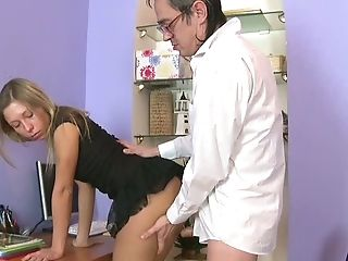 Slender Blonde Teenage In Knee Socks Fucked In Rear End Style By Her Old Paramour