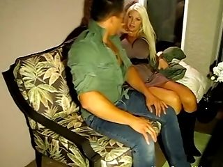 Nasty Older Blonde With Ginormous Tits Couldnt Wait To Get Her Forearms On This Hot  Stud!