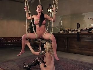 Fierce Mistress Penalizes Vulva Of Tied Up And Suspended Hooker Virginia Tunnels
