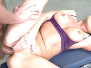 Light-haired Chick With Faux Tits Loves Ass-fuck Exercises In A Gym