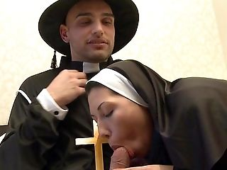 Superb Nun Completes Up Sucking Some Dick And Fucking