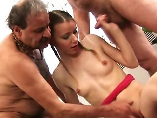 Teenager Barbie With Skinny Bod Makes It With Two Old Guys
