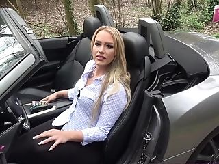German First-timer Blonde Cougar Public Car Fuck