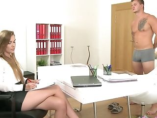 Interviewer Alexis Drops On Her Knees To Suck Her Candidate's Dick