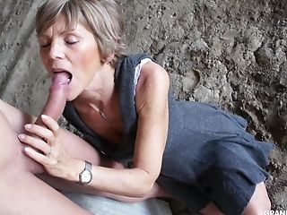 Brief Haired Perverse Granny Ties Up A Junior Boy And Blows His Man Sausage