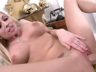 Blonde Hoe With Enormous Milk Cans Christie Stevens Gets Her Vag Poked