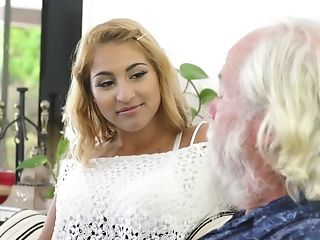 Very First Time Old And Youthfull Romp Uber-cute Nubile Ready To Suck Rod