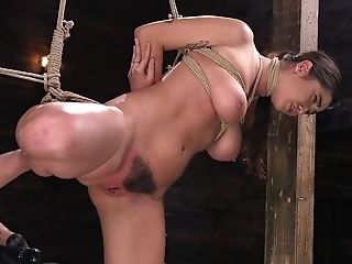 Big-boobed Bombshell Nubile Karlee Grey Manhandled With Playthings In Tying