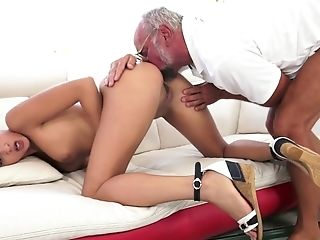 Youthful Dark Haired Gets Her Slick Twat Fucked By Horny Elder Man