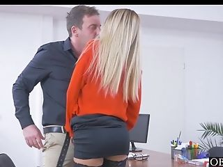 Blonde Office Sweetie Katrin Tequila Earns Her Pay Raise
